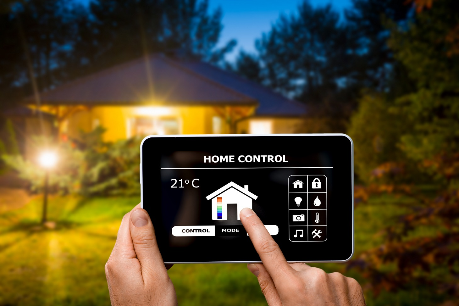 Remote home automation technology control system on a digital tablet or phone.